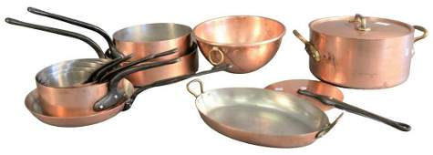 Thirteen Piece Lot of French Copper, to include nest of