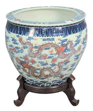 Large Chinese Porcelain Dragon Bowl or Planter on Stand