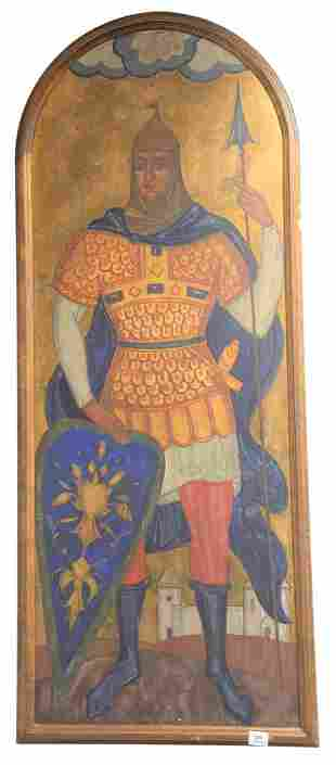 Large Painting of a Knight, having a shield with a
