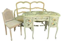 Three piece lot to include a Kidney Shaped Vanity/Desk
