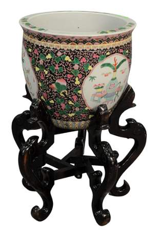 Large Chinese Porcelain Fish Bowl/Planter on stand,