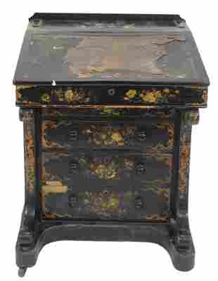 Chinoiserie Decorated Davenport Style Desk, height 32