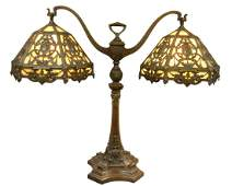 Large Duffner and Kimberly Bronze Double Student Lamp,