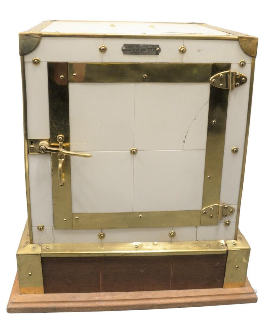 Porcelain Tile and Brass Cigar Humidor, height 23