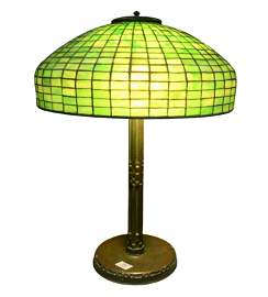 Tiffany Studios Leaded Green Glass Table Lamp,