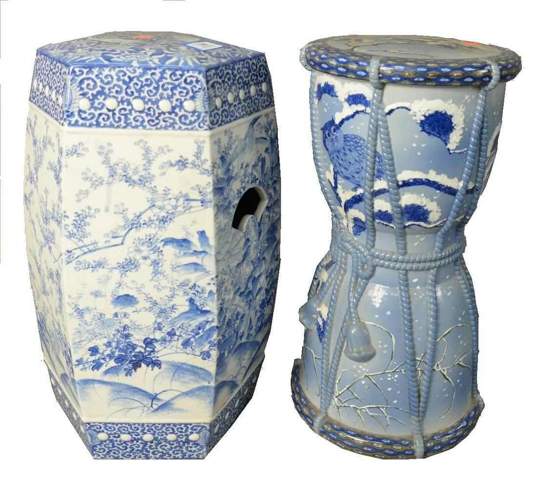 Two Japanese Ceramic Blue and White Garden Seats,