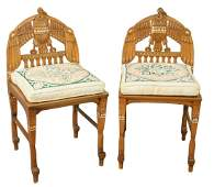 Pair of Egyptian Revival Side Chairs, having bird motif