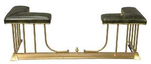 Leather Upholstered Brass Fire Screen, expands and