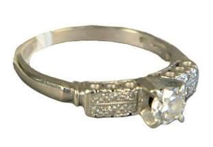 14 Karat White Gold Engagement Ring, set with diamonds,