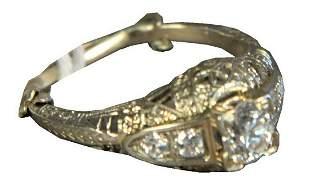 14 Karat White Gold Filigree Ring, set with center