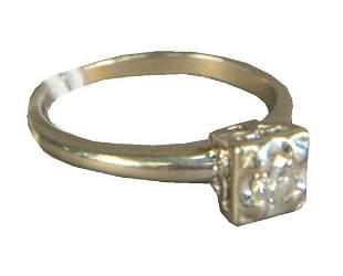 14 Karat White Gold Ring, set with center diamond,