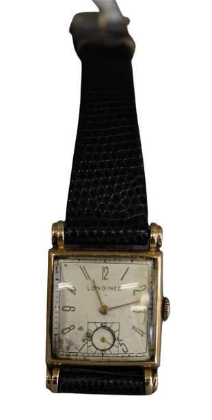 Longines Men's 14 Karat Gold Square Wristwatch.