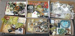 Six Tray Lots of Costume Jewelry, to include sterling,