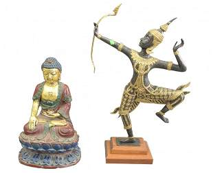 Two Piece Lot to include a Bronze Figure of the Hindu