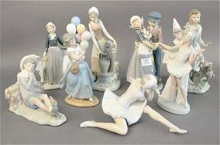 Eight Piece Group of Lladro Porcelain Figures, to