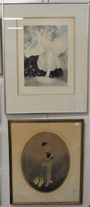 Two Louis Icart Etchings, to include Woman with Ducks,
