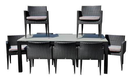 11 Piece Outdoor Set, set of 10 Sifas armchairs, having