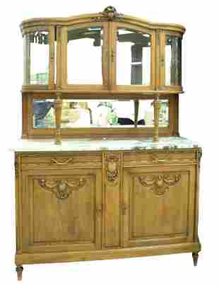 French Marble Top Sideboard having curio top, height 79