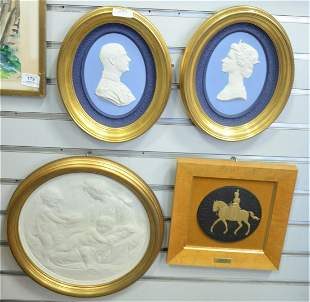 Group of Seven Framed Wedgwood Plaques, to include