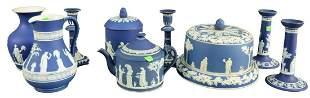 Nine Piece Group of Blue Wedgwood Jasperware, to