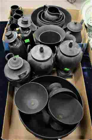 Two Tray Lots of Wedgwood Black Basalt, to include a