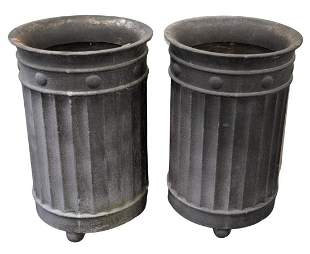 Pair of Cement/Resin Large Outdoor Planters, in