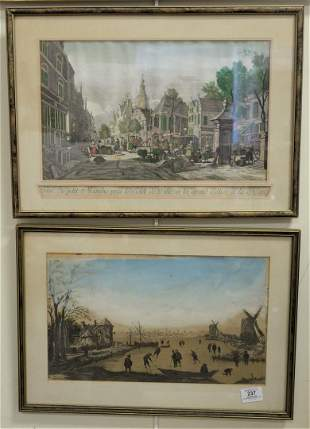 """Four Piece Lot, to include """"The Seine"""", signed T.F."""