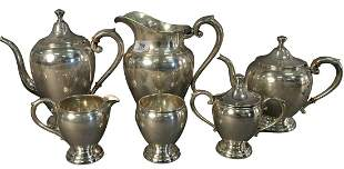 Six Piece Sterling Silver Tea Set, to include water