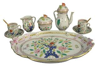 Eight Piece Herend Tea Set, including tray, tray length