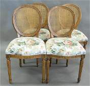 Set of Four Side Chairs, having caned backs and floral