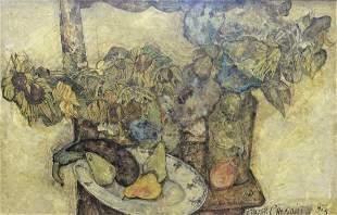 Francis Crociani (b. 1929), still life with fruits and