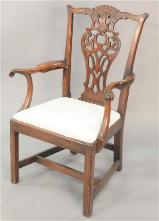 Chippendale Mahogany Side Chair, having pierced carved