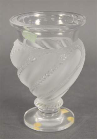 """Lalique """"Ermenonville"""" Frosted Crystal Footed Vase,"""