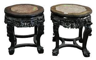 Pair of Carved Chinese Round Side Tables, having rouge
