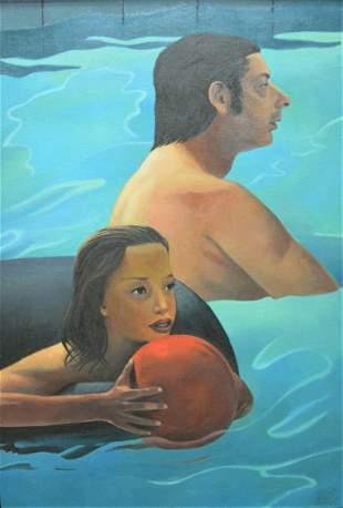 Alan Falk (American, b. 1945), Artist and Model, oil on