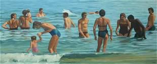 Alan Falk (American, b. 1945), Beach Scene, oil on
