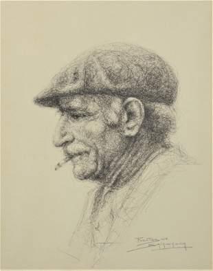 Jose Fuentes de Salamanca (Spanish, b. 1934), sketch of