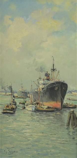 George Stevens (American, 1866 - 1926), steamships in
