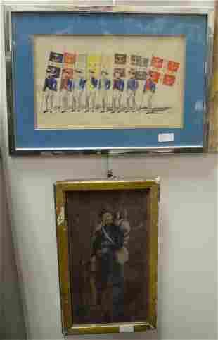 Five Piece Group of Art, to include an Arabian school
