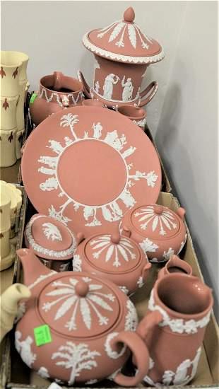 Sixteen Piece Pink Wedgwood Jasperware Group, to