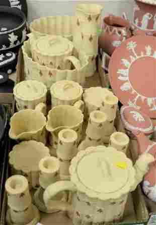 "Two Tray Lots of Wedgwood Jasperware ""Primrose"" Pieces,"