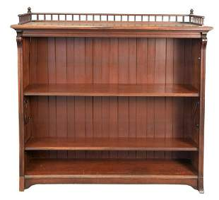 Walnut Victorian Open Bookcase with Gallery, height 53