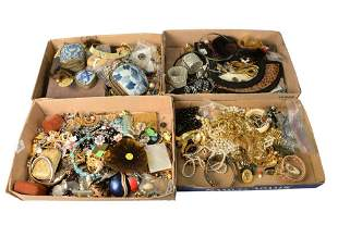 Four Tray Lots of Costume Jewelry, to include earrings,