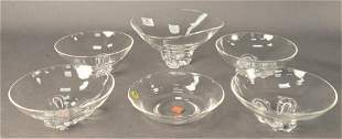 Group of Six Steuben Crystal Bowls, five having footed