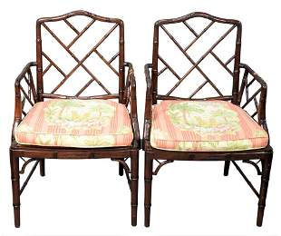 Pair of Faux Bamboo Chinese Chippendale Bamboo Arm