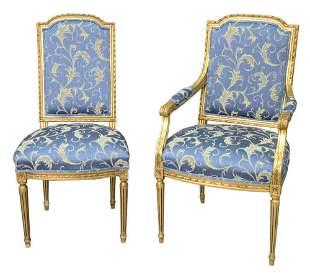 Set of Eight Louis XVI Style Chairs, having gilt frames