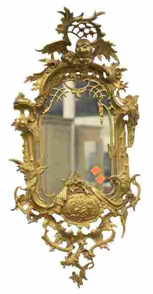 "Gilt Metal Figural Mirror, having putti angel top, 27"""