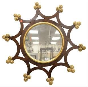 Keith Fritz Ribbed Trefoil 1 Wall Mirror, having gold d