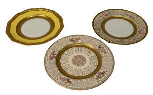 Three Sets of Porcelain Gold Rim Dinner Plates, to