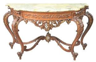 Louis XV Style Marble Top Console Table, height 32